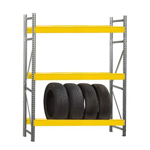 Scaffale PORTA GOMME in metallo 3 ripiani cm L100xP50xH195, Capacità 12 pneumatici, Zincato e Giallo, Incastro