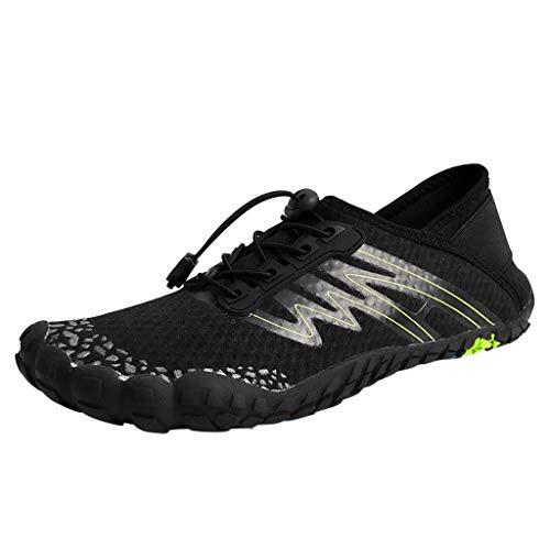 Yvelands Damen Sommer Paar-Strand-Schwimmen-Wasser-Schuhe schnell trocknender Aqua-Schnur-Nebenfluss-Tauchschuh(Black,45)