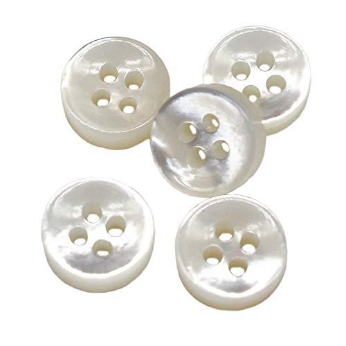 YaHoGa 20 Stück 10 mm Perlmuttknöpfe weiße Perlmutt Knöpfe für Hemden 4 mm dicke weiß Mop hemd Knöpfe (weiße)