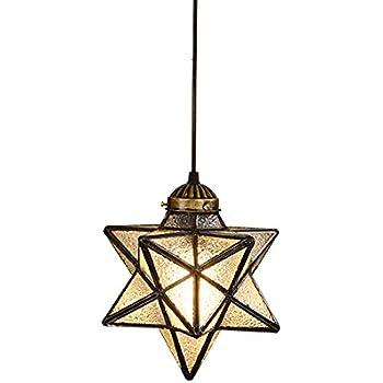 Moravian star clear glass antique brass ceiling light shade hjxdtech vintage pentagram stereo star pendant light crystal glass retro metal ceiling lamp loft rural chandelier ice crack aloadofball Images