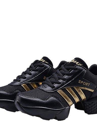 ShangYi Chaussures de danse ( Noir / Rouge ) - Non Personnalisables - Talon Bas - Cuir - Baskets de Danse / Moderne black and gold