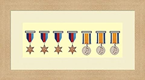 Kwik Picture Framing | Military / War / Sports Medal 3D Box Picture Frame Fits Seven Medal - Oak Frame with Ivory