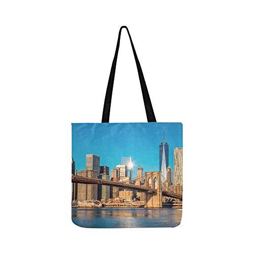 New York City Skyline über Fluss Canvas Tote Handtasche Schultertasche Crossbody Taschen Geldbörsen für Männer und Frauen Einkaufstasche (Handtaschen York City New)