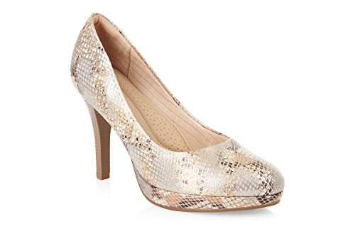 Piccadilly 841010 Comfortable Snake Platform Padded Court Shoe (37, Beige Snake)