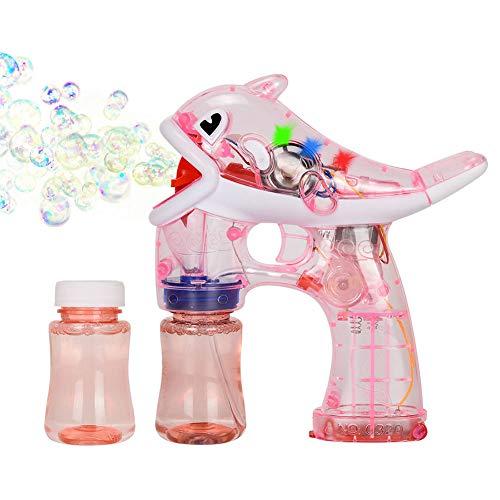 Xpizo Seifenblasenpistolen Elektrisch Delphin Bubble Gun Leuchte LED mit Musik (Rosa)