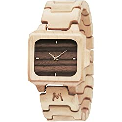 MATOA Sumba - Handmade wooden watch from reclaimed Canadian Maple wood | Unisex woodwatch for men & women | Special giftbox from Mahogany wood