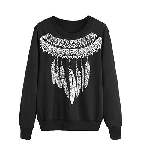 Tonsee Femmes Blouse à manches longues Lettre overs Print Sweatshirt (M, Noir A)