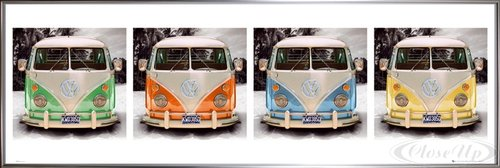 VW Transporter Poster California Camper (159x54 cm) gerahmt in: Rahmen (60er In Bilder Hippies Von Den Jahren)