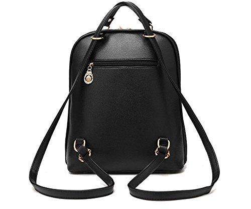 Estwell Frauen Mädchen PU Leder Rucksack Handtasche Freizeit Schultasche Wasserdicht Daypack Lila
