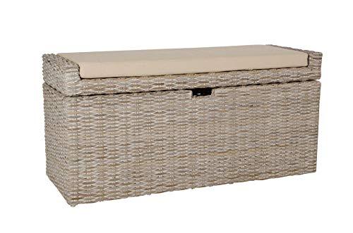VIVANNO Sitzbank Wäschebox 'Combo' u. Kissen Rattan, 105cm, White Wash