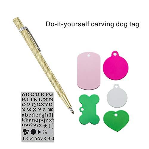 Tag Selbstgravur Personalisierte Dog Tag Gravur Stift und 10 Dog Tags ()