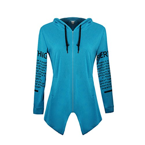 YiLianDa Felpa con Cappuccio Lunga Casual Sportiva Moda Manica Lunga Sport per Donna Blu