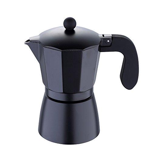 Aluminio Cafetera de émbolo (para hasta 6tazas Cafetera Cafetera Café eléctrica (Incluye 1x adicional Junta Ring/Silicona + Color: Negro)