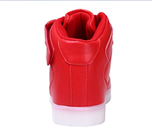 DoGeek - Enfant Basket Lumière Lumineuse - Garçon Fille LED Chaussures- USB Rechargeable basket mode Rouge