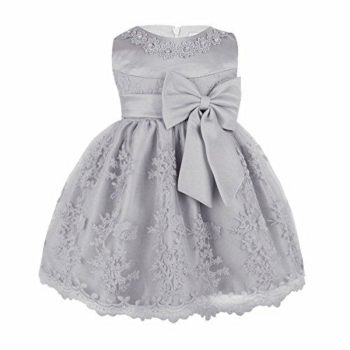 iiniim Baby Mädchen Prinzessin Kleid Blumenmädchenkleid Taufkleid Festlich Kleid Hochzeit Partykleid Festzug Babybekleidung Gr. 68-92 Grau 68-74/6-9 Monate