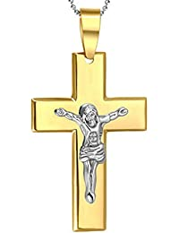 Daesar Joyería Collar Colgante, Acero Inoxidable Collar Ajustado Necklaces Dorado for Men Retro Christ Jesus Crucifijo Cruz 44X72MM, Grabado por Gratis