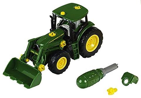 Theo Klein 3903 - Theo Bau und Konstruktionsspielzeug, John Deere Traktor mit Frontlader und Gewicht
