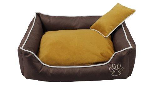 Hundebett M mit Kissen 65 x 52cm - Hundekorb Hundesofa in Braun - Katzenbett M mit Kissen - Katzekorb Katzensofa - Braun