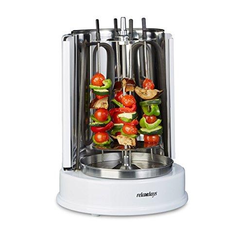Relaxdays Dönergrill Rotisserie 1400 Watt, Vertikalgrill, Hähnchengrill, 360° Hitzeverteilung, für Döner und Kebab, weiß