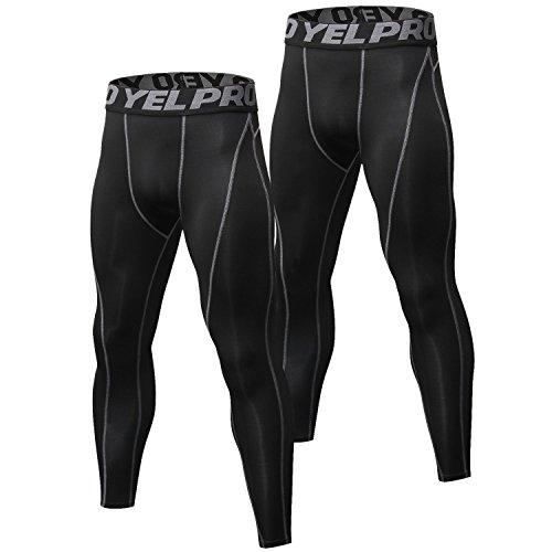 Niksa 2 Piezas Deportivas Pantalones de Fitness Pantalones de Compresión Secado Rápido Leggings para Running, Yoga (Black Gray(1060)*2,L)