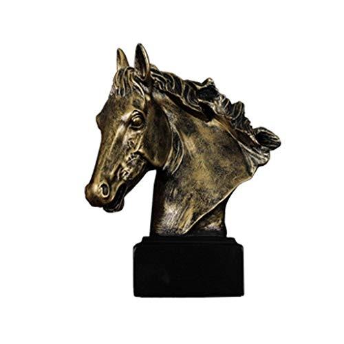 ZLBYB Große antike Bronze Harz Finish Pferdekopf Büste Statue Lange Hengst Harz Dekor Skulptur Figur -