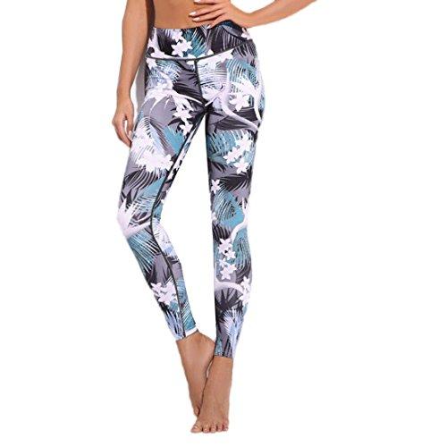 Pantalons de sport, Toamen Femmes Sports Yoga Leggings Pantalon Jumpsuit Athletic Vêtements impression Taille haute Gymnase d'entraînement Pantalons de survêtement (M, Gris)