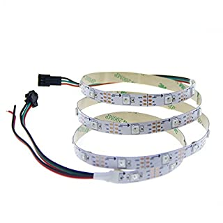 ALITOVE 3.2ft WS2812B 5050 RGB LED Strip 1M 30 SMD Individual Addressable Full Color Flexible Pixel Rope Light Non Waterproof 5V White PCB …