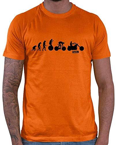 HARIZ  Herren T-Shirt Evolution Motorrad Trial Lustig Zweirad Plus Geschenkkarten Orange XS -