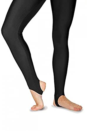 Roch Valley Stirrup Tights Leggings Nylon Lycra Black-Dance Gymnastics Twirling (0 Age 3-4 (98-104cm))