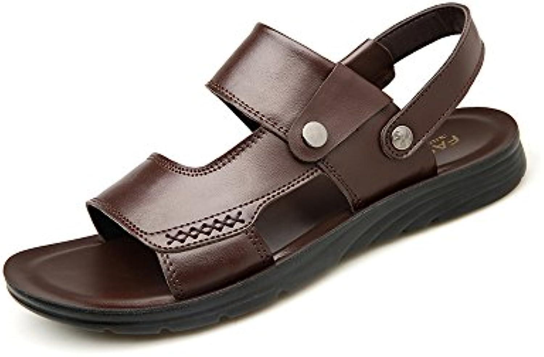 YQQ Männliche Sandalen Sommer  Hausschuhe Fuumlr Herren Lässige Schuhe Strandschuhe Ledersandalen weissher Boden Massage Einlegesohle