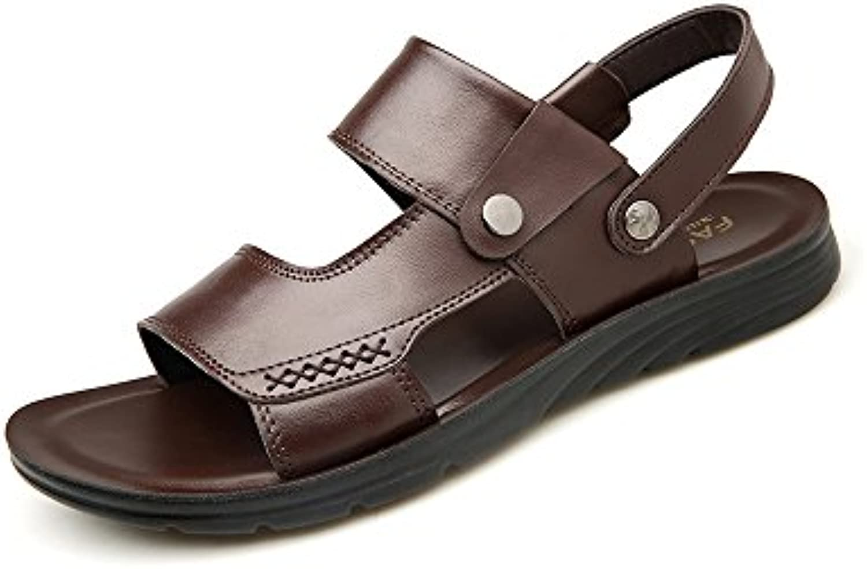 YQQ Atmungsaktive Strandschuhe Sommer Lässige Schuhe Hausschuhe Männliche Sandalen MassageEinlegesohle Leder