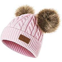 QUICKLYLY Gorro Bebé de Lana Tejido Invierno Grueso Sombrero para Niños Y  Niñas Bufanda Conjunto Slouchy c77cb9906a1