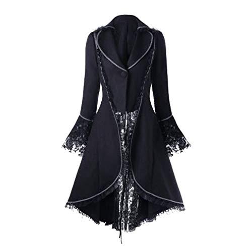 Mujeres Chaqueta Elegante Manga Larga Slim Fit Abrigo Estilo Victoriano Swallowtail Abrigo Steampunk Renacentista Medieval Abrigo Negro/Rojo/Gris