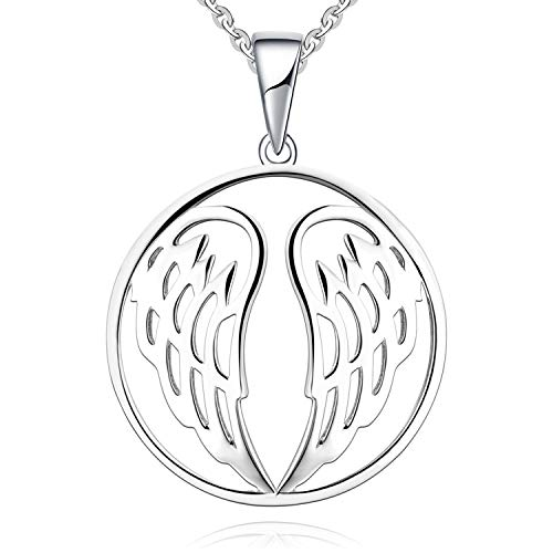 JO WISDOM Sterling silver pendant necklaces 925 Guardian angel wings woman jewelry (white gold color)