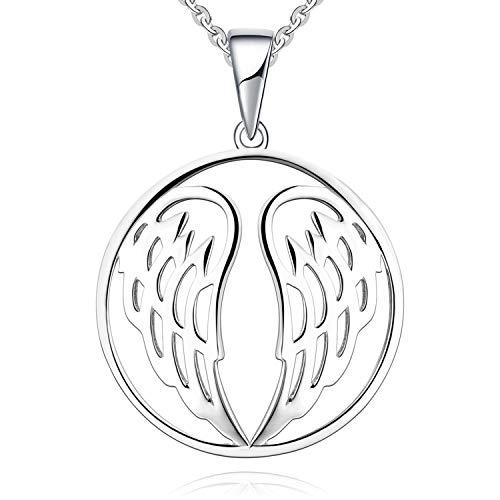 JO WISDOM Collares colgante plata de ley 925 Alas del ángel de la guarda mujer joyería (color oro blanco)