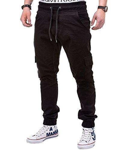 BetterStylz MasonBZ Herren Cargo Chino Jogger Hose Pant Slim Fit Cargotaschen Army Style 8 Farben (XS-5XL) (XXXX-Large, Schwarz)