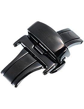 22mm Herren Damen Butterfly Faltschließe Doppelfaltschließe Edelstahlschließe für Lederbänder Uhren-Armband Uhrenarmbänder...