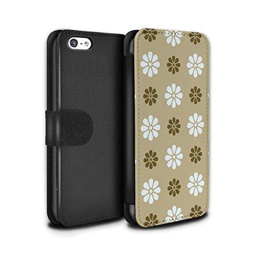 Stuff4 Coque/Etui/Housse Cuir PU Case/Cover pour Apple iPhone 5C / Multipack Design / Motif avec pétales Collection Beige