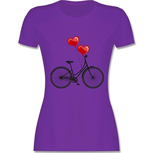 Vintage - Fahrrad Herz Luftballons - tailliertes Premium T-Shirt mit Rundhalsausschnitt für Damen Lila