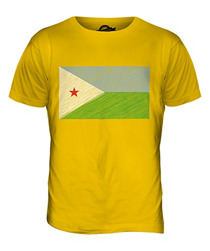 CandyMix Dschibuti Kritzelte Flagge Herren T Shirt Dunkelgelb