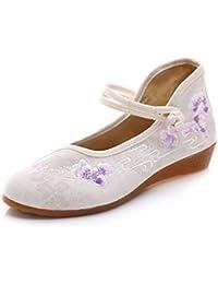 Bordado Zapatos/Alpargatas/Merceditas/Zapatos Bordados Dama Pendiente Tacones de Baile con Suela