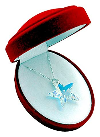 * TOP * * * * * 28mm * Crystal AB * Collier en argent avec étoile en argent 925avec pendentif Swarovski® Elements original, collier avec étui à bijoux, cadeau idéal pour femme ou Petite
