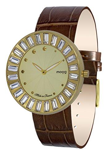 Moog Paris Sunshine Women's Watch with Champagne Dial, Brown Genuine Leather Strap & Swarovski Elements - M45431-401