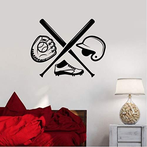 Sshssh Baseball Wandaufkleber Abnehmbare Vinyl Sport Wandtattoos Baseball Jungen Zimmer Sport Aufkleber Bat Sport Fan Kunst Wandbild56 * 73 Cm