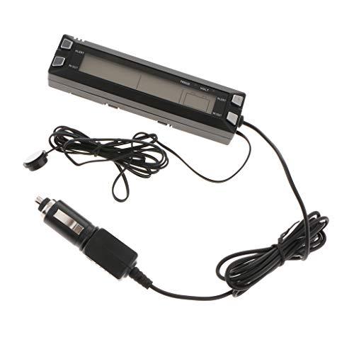 perfk Digital Innen/Außen-Thermometer Auto Spannungsmesser Voltmeter LCD mit Sonde - E30