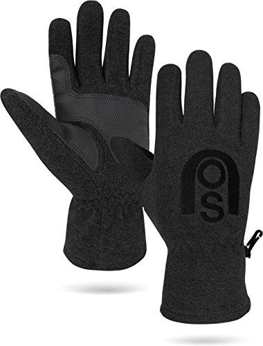normani Winter Fleece Handschuhe Schwarz mit Thinsulatefütterung bis -10 Grad Farbe Schwarz mit Silikonhandfläche Größe L