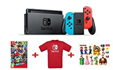 Nintendo Switch - Blu/Rosso Neon + Mario Odyssey + T-Shirt N.Switch + Stickers Super Mario