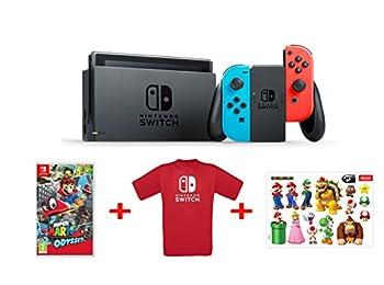 Nintendo Switch - Mavi/Kırmızı + Mario Odyssey  + T-Shirt