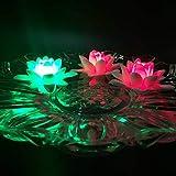 Atcket - Juego de 4 velas LED flotantes, diseño de lirios, funcionamiento con pilas, sin llama