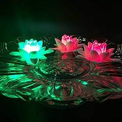 Idea Regalo - Atcket, (set di 4) candele a batteria a LED, colorate, impermeabili e galleggianti, a forma di fiore; luce notturna, candela senza fiamma
